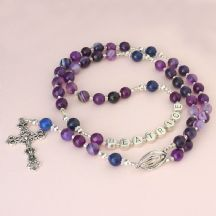 Faceted Purple Agate Rosary Beads with Name